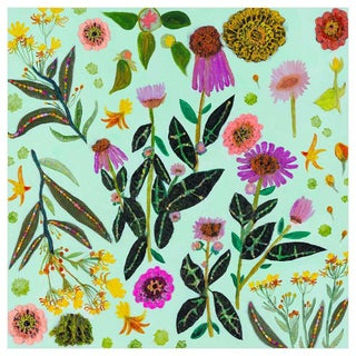 """""""Wildflowers Milkweed"""" Kenneth Ludwig Chicago Contemporary Canvas Art by Eli Hilpin For Sale"""