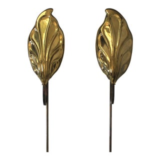 Chapman Leaf Wall Sconces in the Manner of Tomasso Barbi - a Pair For Sale