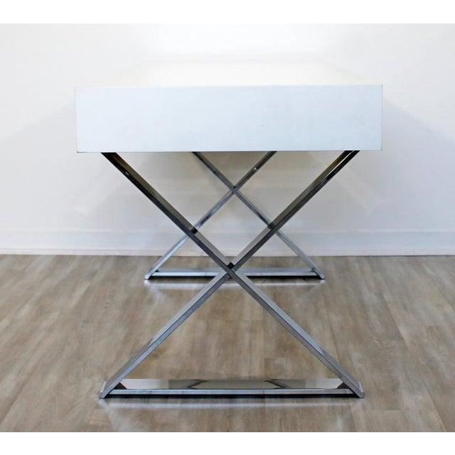 1960s 1960s Milo Baughman Mid-Century Modern Campaign White Lacquer Chrome X Base Desk For Sale - Image 5 of 12