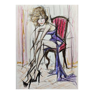 Color Pencil Sketch of Woman on Chair Made on A4 Hahnemühle Paper by Shirin Godhrawala ,2020 For Sale