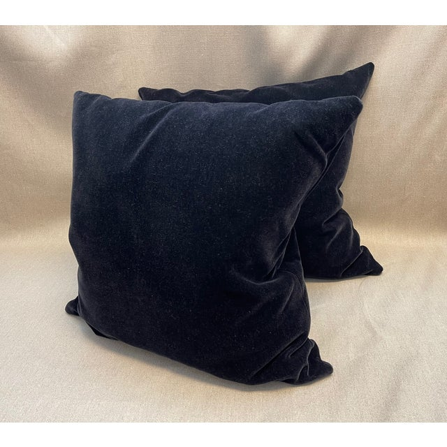 2000 - 2009 Old World Weavers Black Mohair Throw Pillows - a Pair For Sale - Image 5 of 5