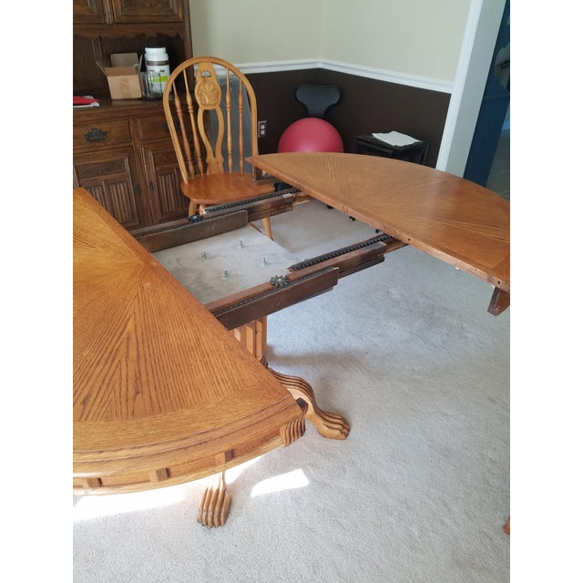 Oak 1990s Country Honey Oak Clawfoot Dining Set - 7 Pieces For Sale - Image 7 of 9