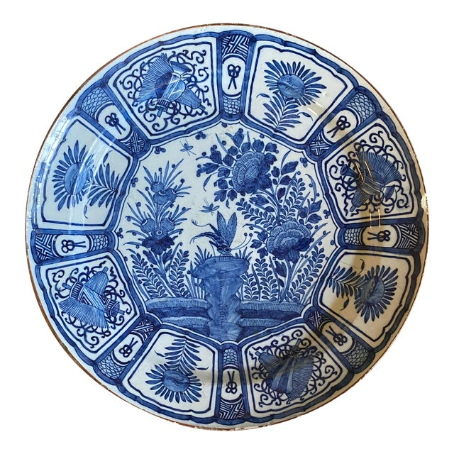 17th Century Blue and White Delft Charger For Sale