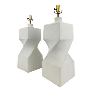 Vintage 1980s White Geometric Twist Plaster Table Lamps - a Pair For Sale