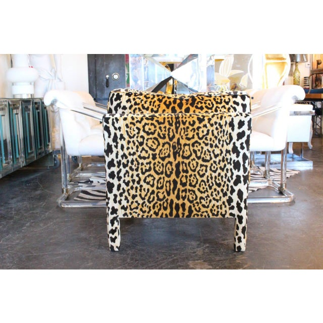 Pair of Leopard Parson Chairs in the Style of Milo Baughman, Custom For Sale - Image 12 of 13