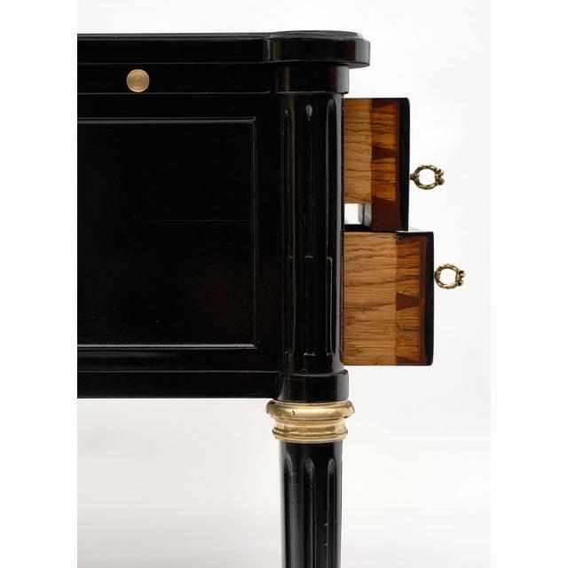 Wood Antique French Louis XVI Style Ebonized Desk For Sale - Image 7 of 10