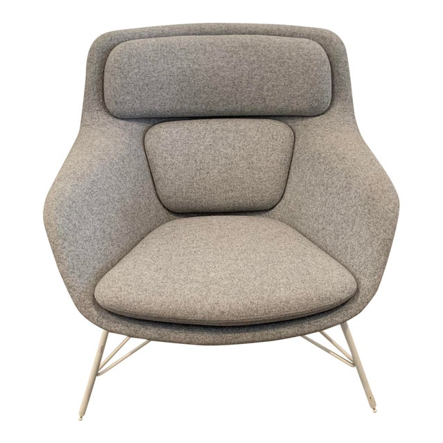 Gray Flannel Mid-Century Womb Chair For Sale