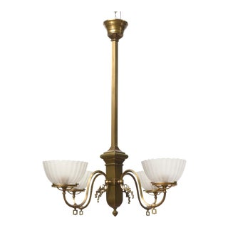 Vintage Four Arm Brass Gas Chandelier For Sale