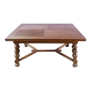Antique French Rectangle Extending Extendable Oak Dining Table With X-Stretcher Bulbous Legs
