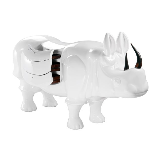 Contemporary White Rhino With Drawers by Sylvan s.f. For Sale - Image 3 of 5