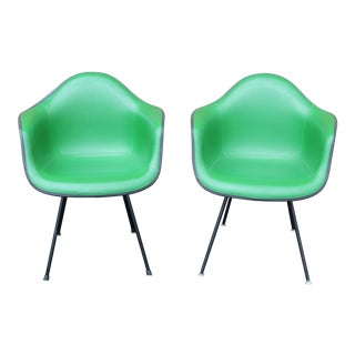 Eames Kelly Green Arm Shell Chairs - A Pair For Sale