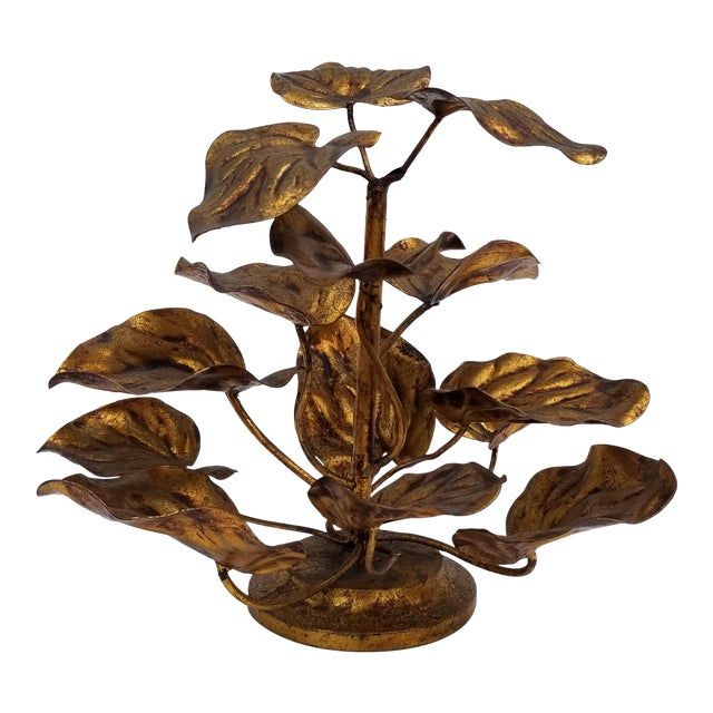 1960s Vintage Italian Gilded Plant Shaped Table Sculpture For Sale