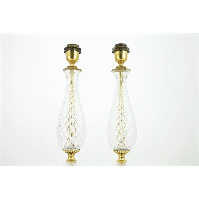 1960s Pair of Textured Glass and Brass Table Lamps, 1960s For Sale - Image 5 of 7