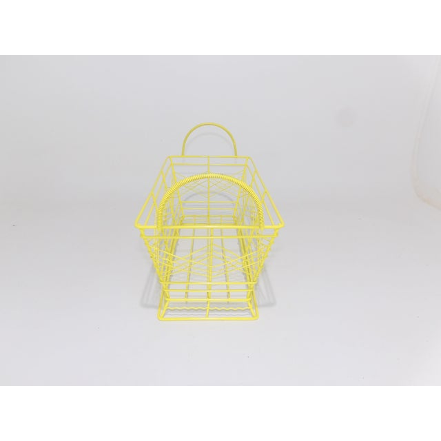 Contemporary Electric Yellow Bathroom Metal Wire Toiletries Catchall For Sale In Sacramento - Image 6 of 8