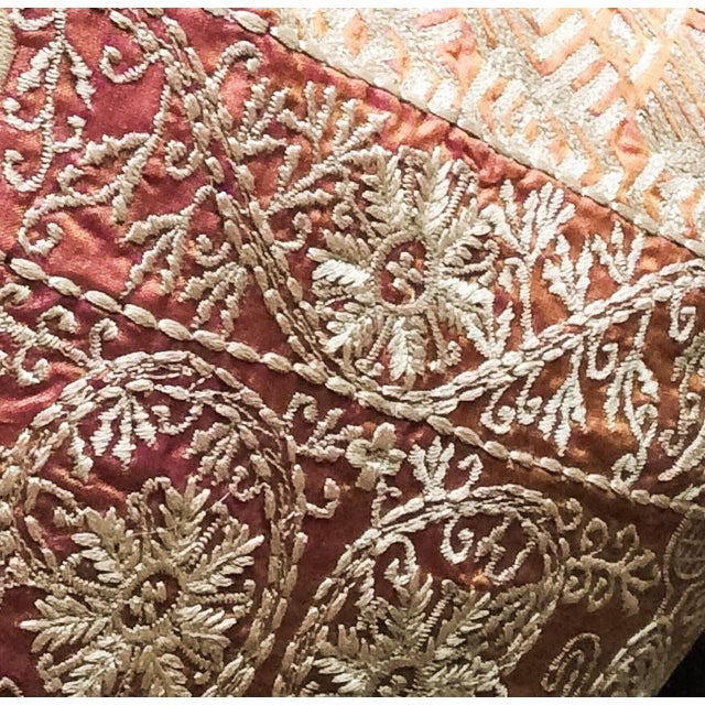 Boho Chic Embroidered Handwoven Silk Pillow For Sale - Image 3 of 5