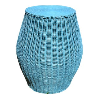 Rattan White Wash Blue High Stool