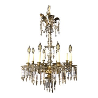 19th Century William IV Bronze and Crystal Chandelier For Sale