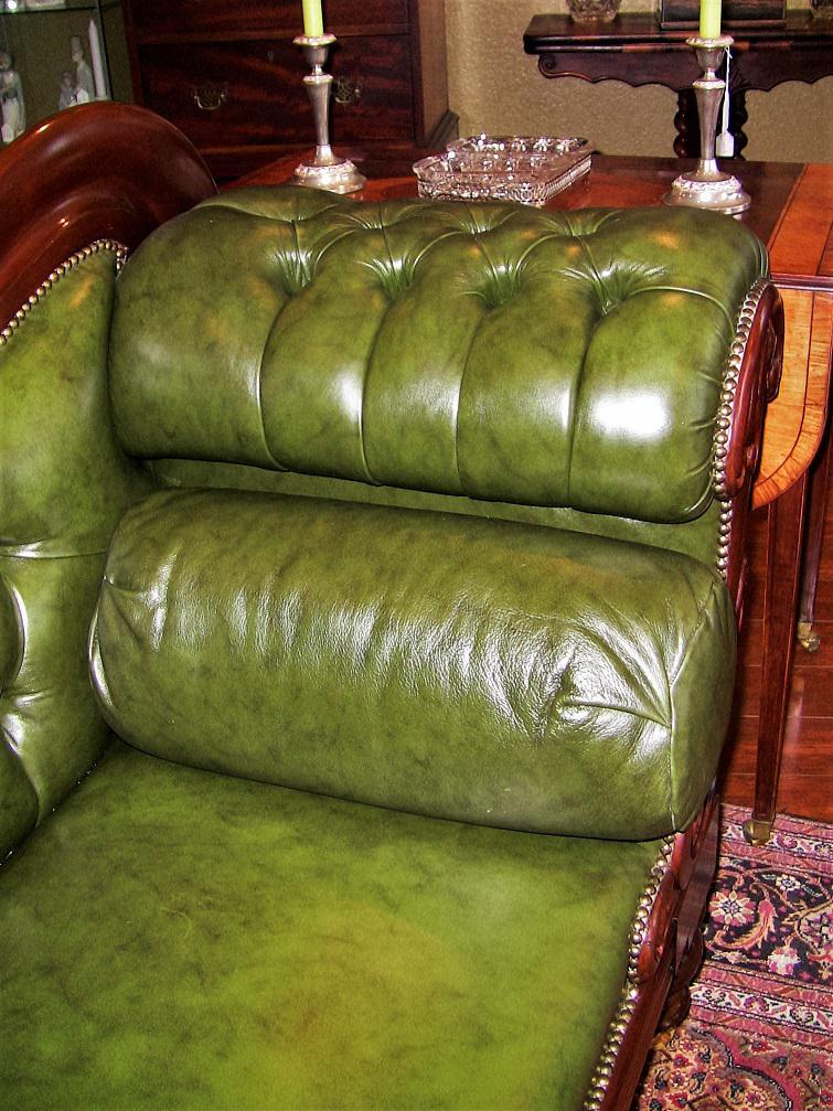 19th Century British Mahogany Library Sofa With Scroll Arm