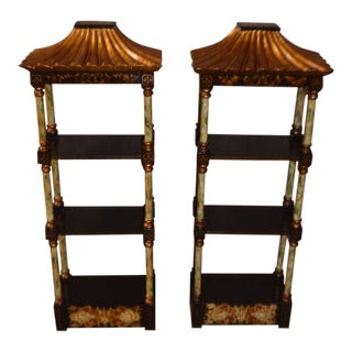 1990s Asian Hand-Painted Display Shelves - a Pair