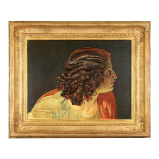 """Mid 20th Century """"Head of a Classical Woman"""" Oil Painting, Framed For Sale"""
