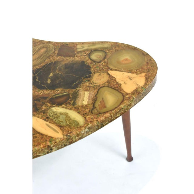 Marble Italian Modern Specimen Marble, Resin and Walnut Low Table, Aldo Tura For Sale - Image 7 of 10