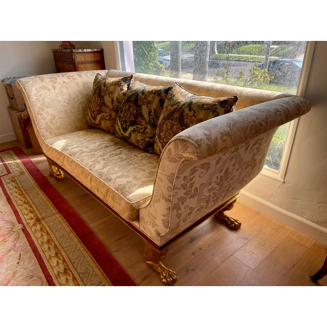 Dessin Fournir Quatrain Regency Style Giltwood & Mahogany Sofa - Dessin Fournir For Sale - Image 4 of 7