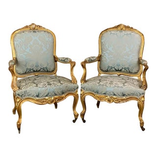 Pair 19th Century French Louis XV Giltwood Armchairs ~ Fauteuils For Sale