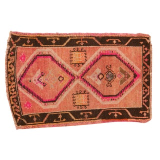 "Vintage Distressed Oushak Rug Mat - 1'10"" X 2'10"" For Sale"