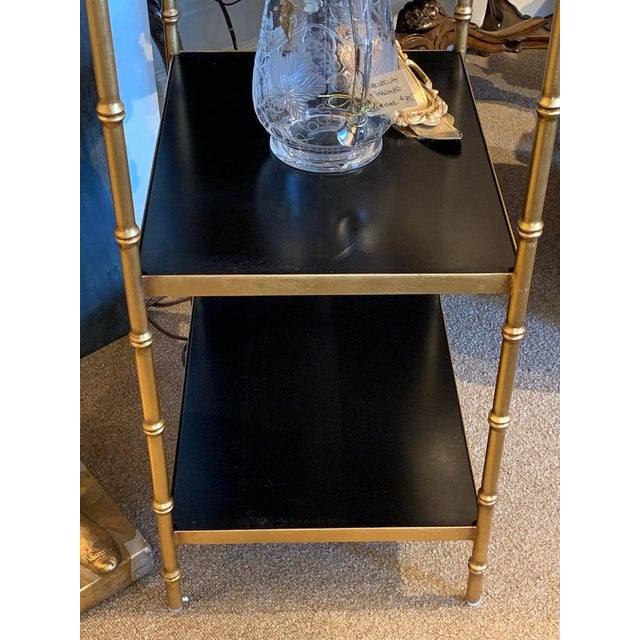 Gilt Metal & Lacquered Faux Bamboo Étagère in the Style of Maison Jansen For Sale In Atlanta - Image 6 of 10