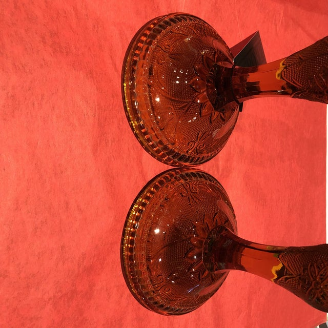 Hollywood Regency 1960s Amber Glass Candlestick Holders - a Pair For Sale - Image 3 of 7