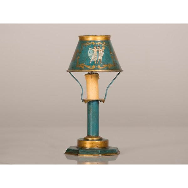 Louis XVI A rare Louis XVI style hand painted tôle lamp from France c. 1840 wired for American electricity For Sale - Image 3 of 9