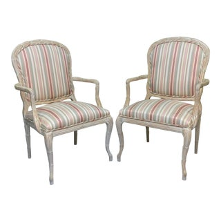 Faux Bois Arm Chairs in Striped Upholstery - a Pair For Sale