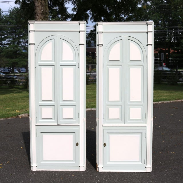Custom Arch Panel Corner Cabinets - A Pair - Image 2 of 11