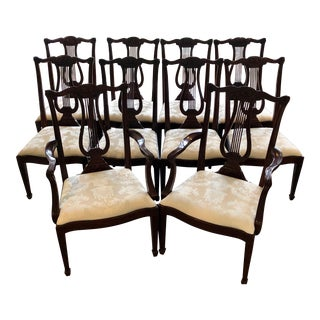 Henkel Harris Lyre Back Dining Chairs - Set of 10 For Sale