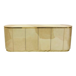 Vintage Mid Century Modern Brass Wrapped Credenza For Sale
