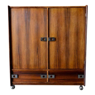 Rosewood and Chrome Rolling Dry Bar or Cabinet by Leif Jacobsen, Circa 1970 For Sale