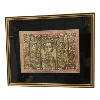 19th Century Antique French Framed Textile/Embroidery on Velvet For Sale