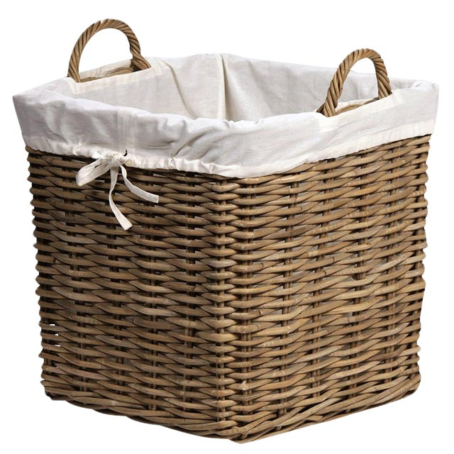 Kubu woven square wicker baskets with tied off-white lining. Sold as a set of three. Large measures 20 x 20 x 22; Medium...