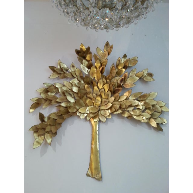 Mid 20th Century Golden Colored Wall Sculpture of a Tree by Curtis Jere, Artisan House For Sale - Image 5 of 6