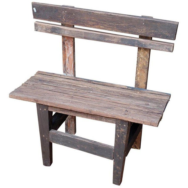 Brown 1980s Vintage Moroccan Handmade Old Wood Park Bench For Sale - Image 8 of 8
