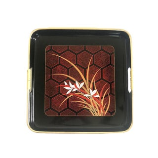 Vintage Floral Japanese Lacquerware Tray For Sale
