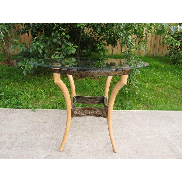 Vintage Hollywood Regency Faux Horn Antler Glass Side Table For Sale - Image 11 of 11