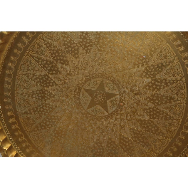 Brass Large Syrian Hand-Hammered Brass Tray For Sale - Image 7 of 10