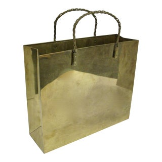 Hollywood Regency Circa 1970 Brass Shopping Bag For Sale