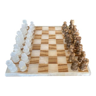 Vintage Mid 20th Century Carved Marble and Onyx Chess Set - 33 Pieces For Sale