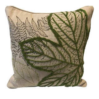 Harp & Finial Green Leaf Decorative Throw Pillow For Sale