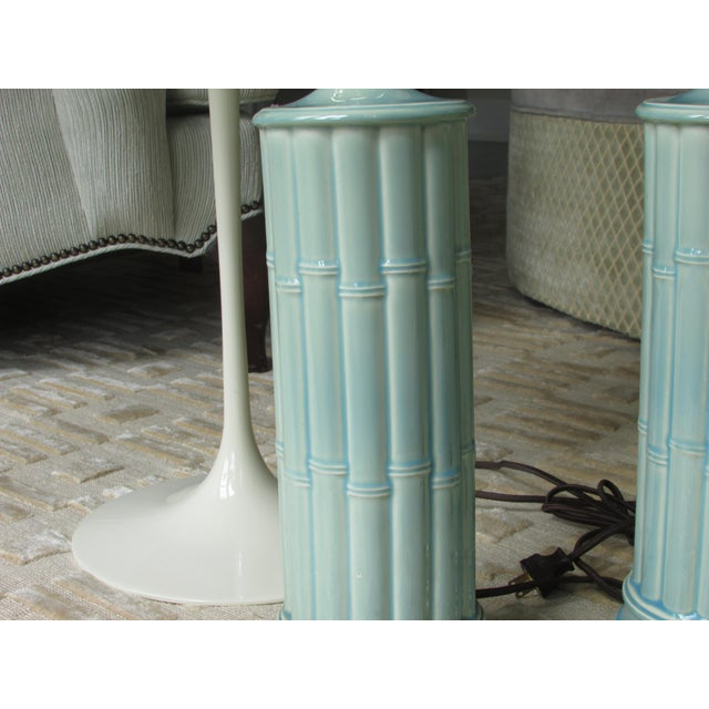 Vintage Celadon Table Lamps - A Pair - Image 4 of 4