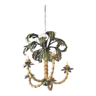 Vintage Palm Tree Frond Leaf Metal Tole Chandelier For Sale