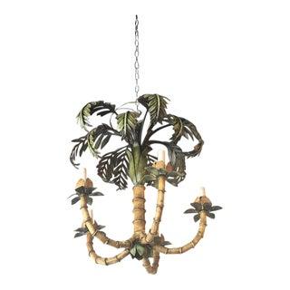 Vintage Palm Tree Frond Leaf Metal Tole Chandelier