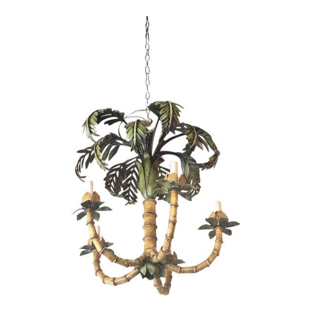 Vintage palm tree frond leaf metal tole chandelier chairish vintage palm tree frond leaf metal tole chandelier aloadofball Choice Image